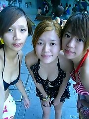 Chinese girlfriends having a all girls day out at the beach